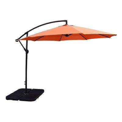 patio umbrellas cantilever patio umbrella in burnt orange and 4-piece polyresin patio  umbrella SSPIGRA
