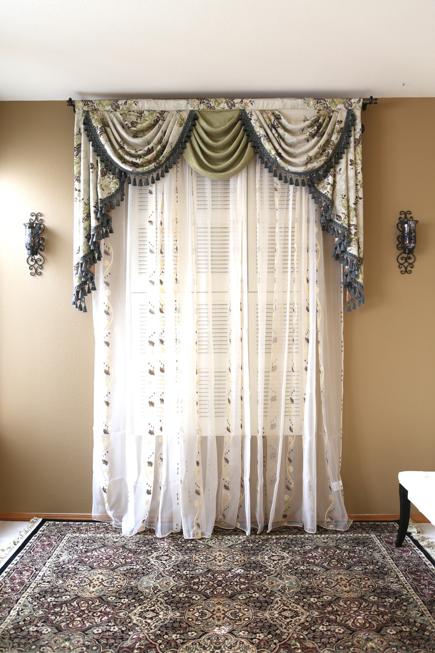 picture of appalachian spring - classic overlapping swag valance curtains YFDXMKZ