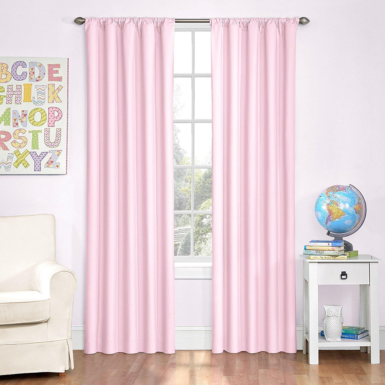 pink curtains amazon.com: eclipse kids microfiber room darkening window curtain panel, 42  by 84-inch, YTJMXZR