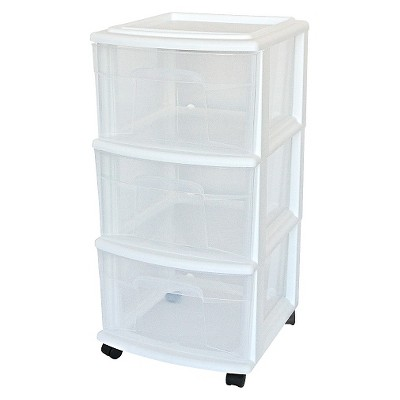 plastic storage drawers 3-drawer medium storage cart clear/white - room essentials™ JRHNDKO