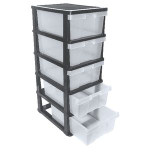 plastic storage drawers ... j.burrows 5 drawer cabinet black/clear GVLPAUE