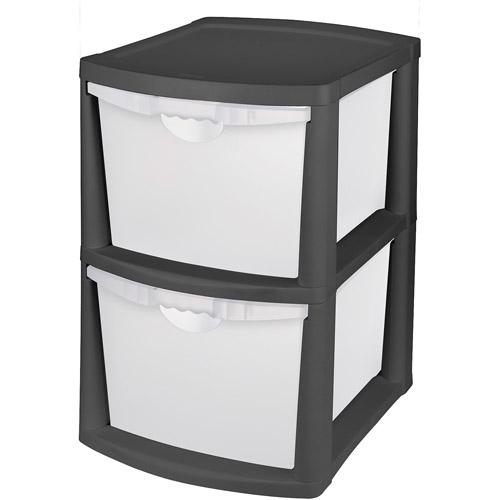 plastic storage drawers sterilite 2 bin storage system, black PRAGBGD