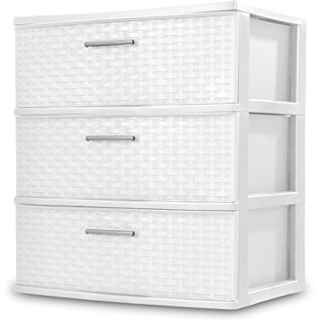 plastic storage drawers sterilite 3 drawers wide weave tower plastic storage organization- white  (white) (wide MBILLGZ