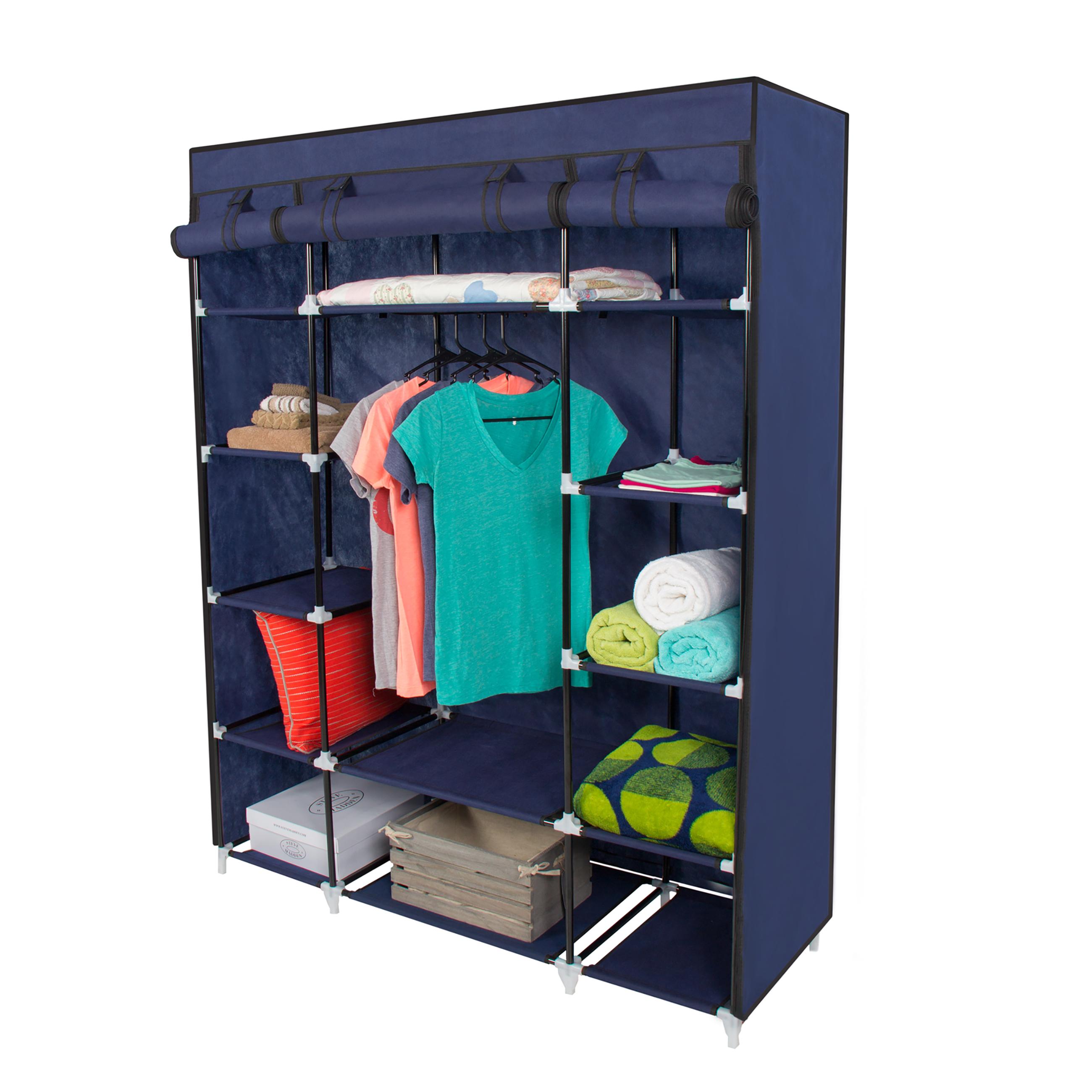 portable wardrobe 53u201d portable closet storage organizer wardrobe clothes rack with shelves  blue NJPBYQB