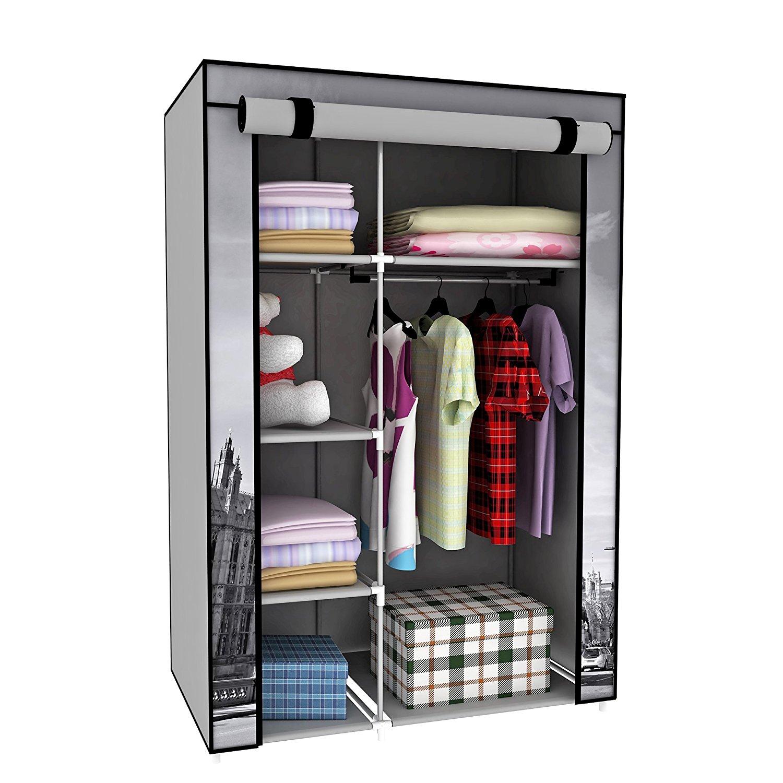 portable wardrobe amazon.com: switch innovation storage closet portable temporary clothing  wardrobe, free-standing clothes rack, OIBOPUY