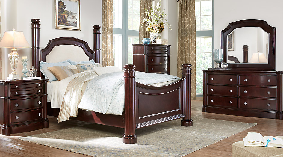 queen bedroom sets dumont cherry 5 pc queen low poster bedroom XVCGOUP