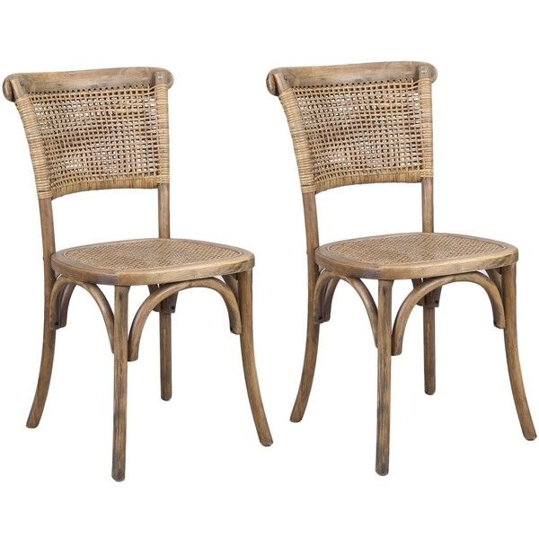 rattan dining chairs joveco antique vintage rattan solid elm wood dining chair set of 2... ( LFYAEFL