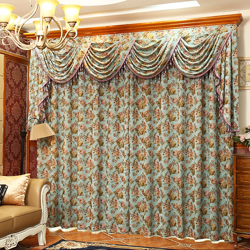 retro peony floral chenille jacquard teal vintage curtains CJCLIMZ