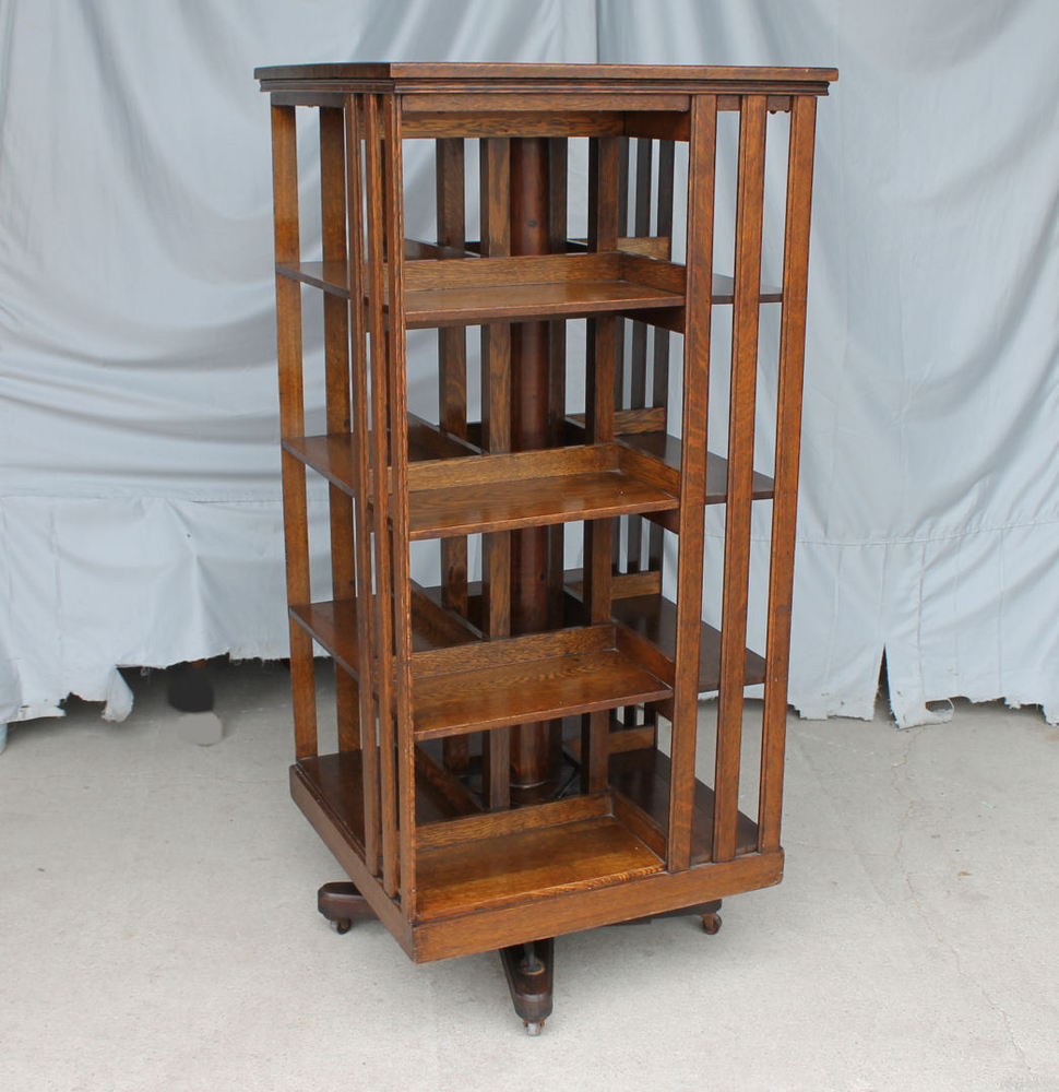 revolving bookcase antique revolving oak bookcase - original finish - danner - mission style MNXUASK
