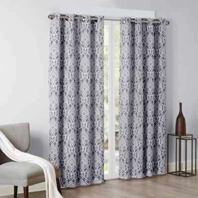 room darkening curtains madison park barto 84-inch grommet top room-darkening window curtain panel  in grey TBKDBSQ