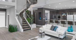 room design ideas inspiration for a contemporary open concept gray floor living room remodel  in QUQZAAK