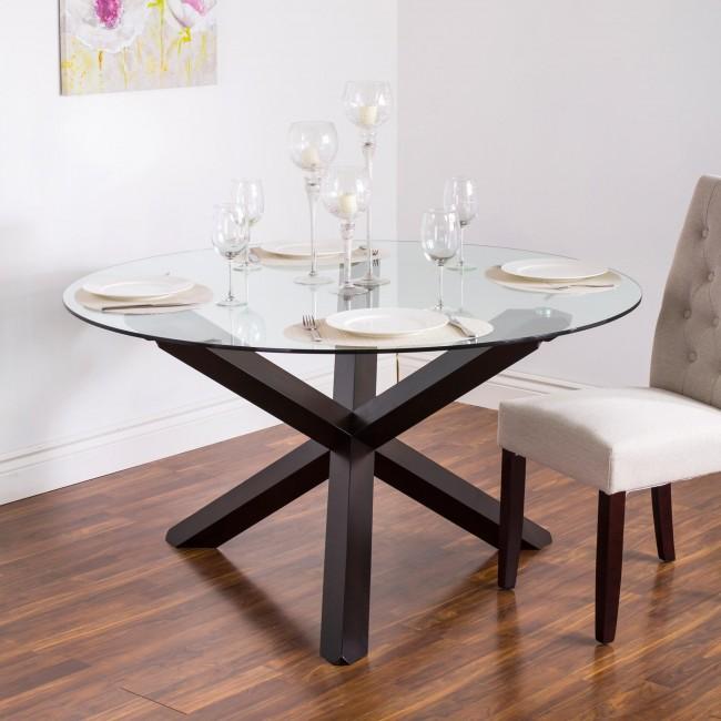 round glass dining table kitchen stuff plus kona walnut glass dining table.jpg NSNAKRQ