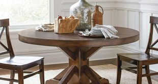 round pedestal dining table benchwright fixed pedestal dining table | pottery barn SOMKSAK