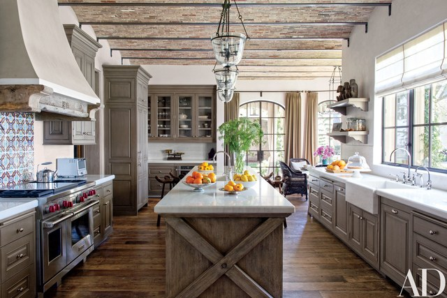 rustic kitchen antique tunisian tile from exquisite surfaces makes a lively backsplash in  gisele VXAQXHJ