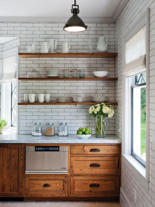 rustic kitchen photos - rustic kitchen idea in burlington with  recessed-panel cabinets, MLNYAGA