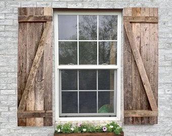 rustic wood shutters, decorative wood shutters, farmhouse window shutters,  barn wood shutters LHPDPTI