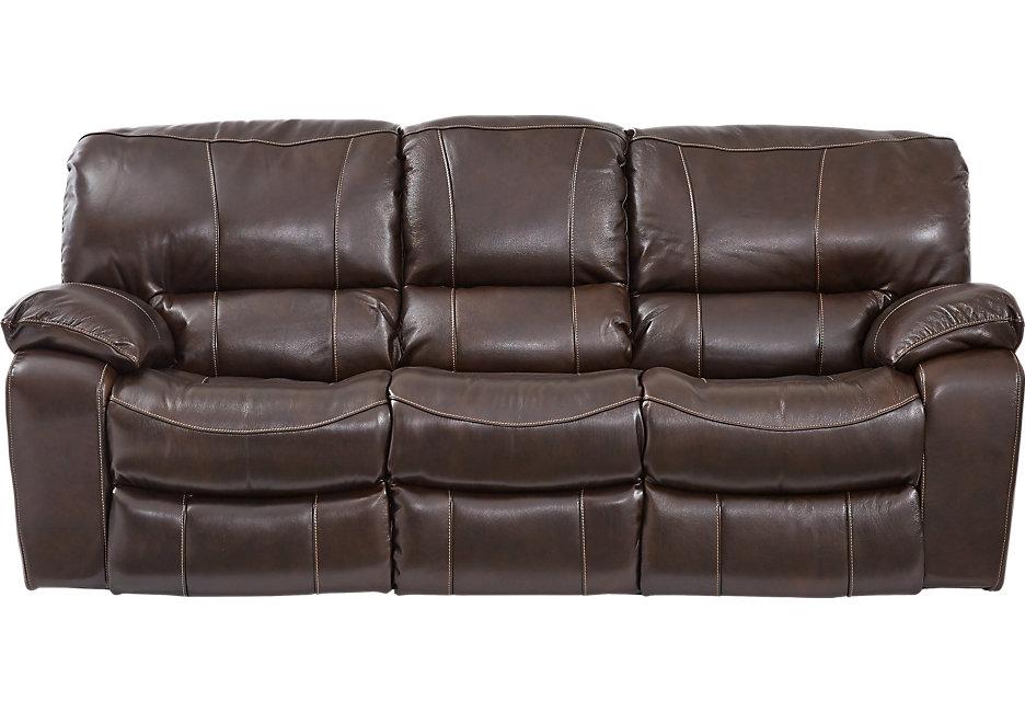 sanderson walnut leather reclining sofa - leather sofas (brown) WKFLZYP