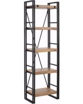 scandinavian lifestyle indira acacia wood and metal narrow bookcase (indira bookcase  narrow), YJWMKMD