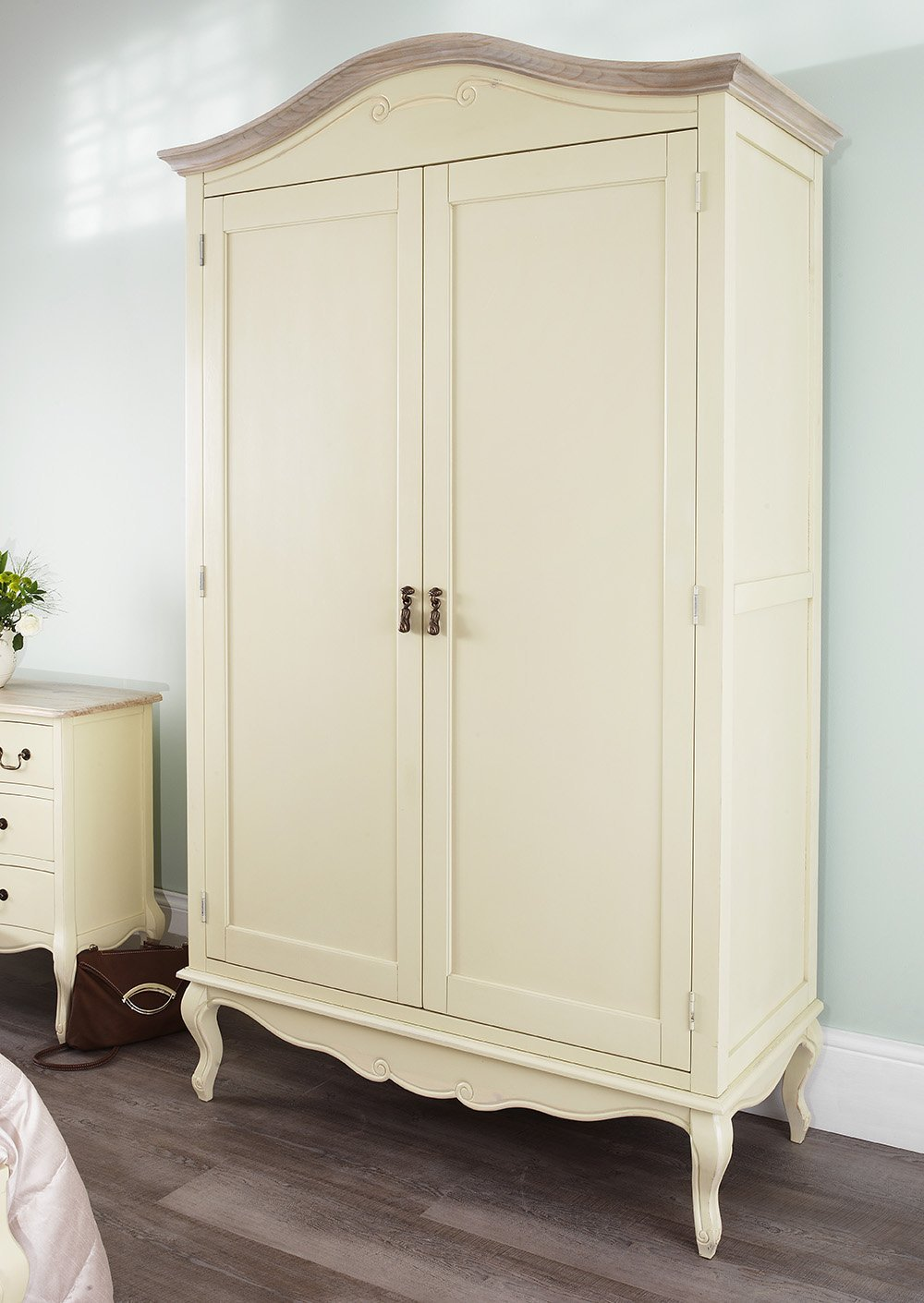 shabby chic wardrobe juliette shabby chic champagne king bed 5pc bedroom suite. cream 5ft bed, TOBXDCS
