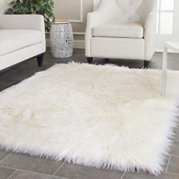 shaggy rug safavieh faux silky sheepskin fss235a ivory area shag rug (5u0027 x ... NRWVNVQ