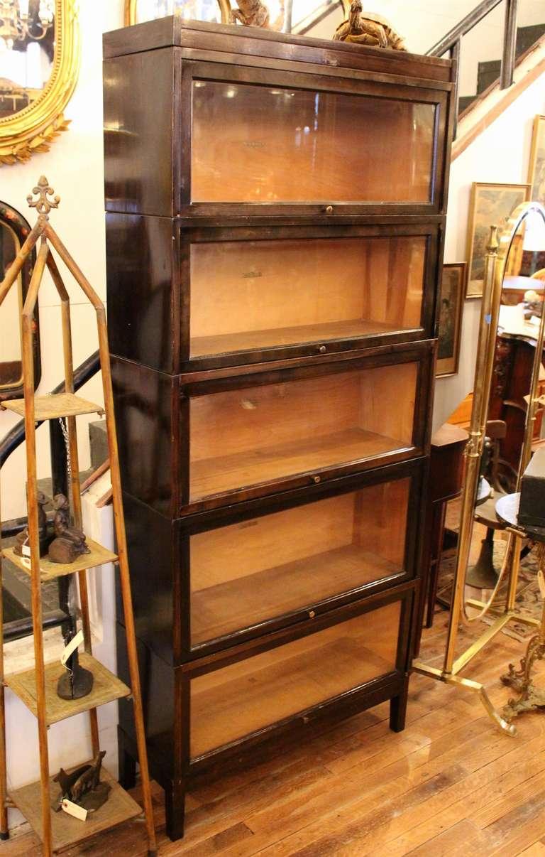 shaw walker antique dark brown barrister bookcase 2 ESADMIF
