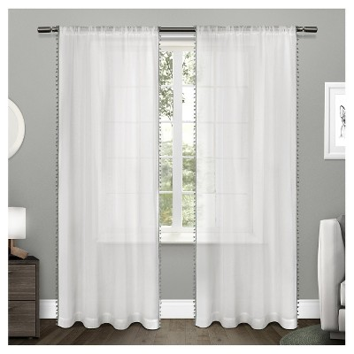sheer pom pom curtain panels pair exclusive home BVVETPN