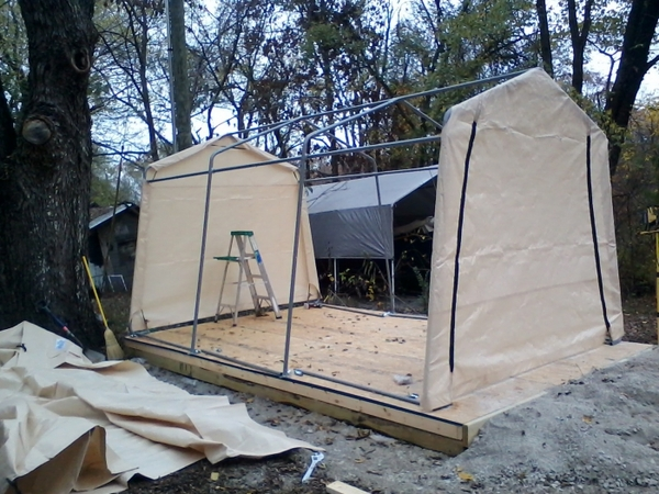 shelterlogic autoshelter 1015 portable garage with tan cover - 10 foot x 15 RASMDNR