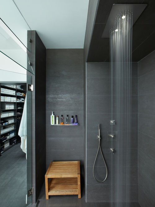 shower designs minimalist gray tile walk-in shower photo in los angeles UWNCQSD