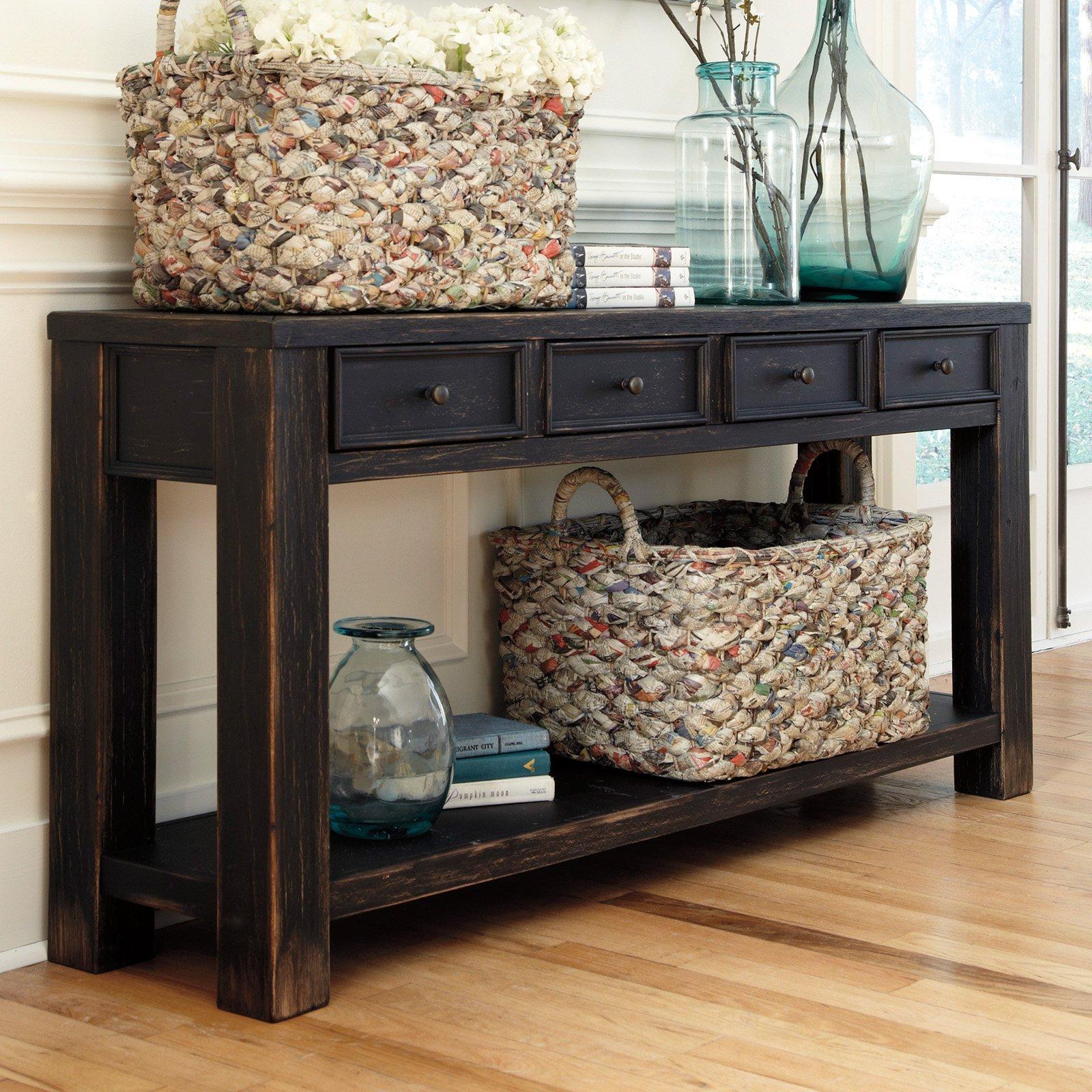 signature design by ashley gavelston rectangular black sofa table -  walmart.com CBYNAJG