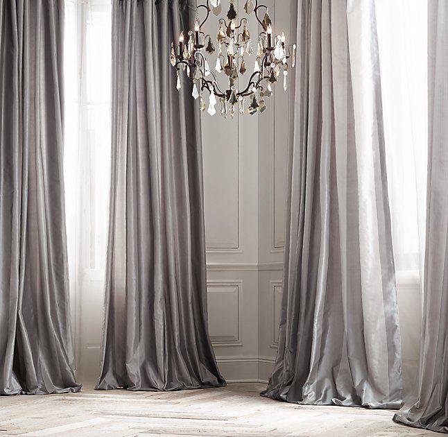 silk curtains new restoration hardware silk taffeta pavilion stripe drape curtain fog VUGQDIW