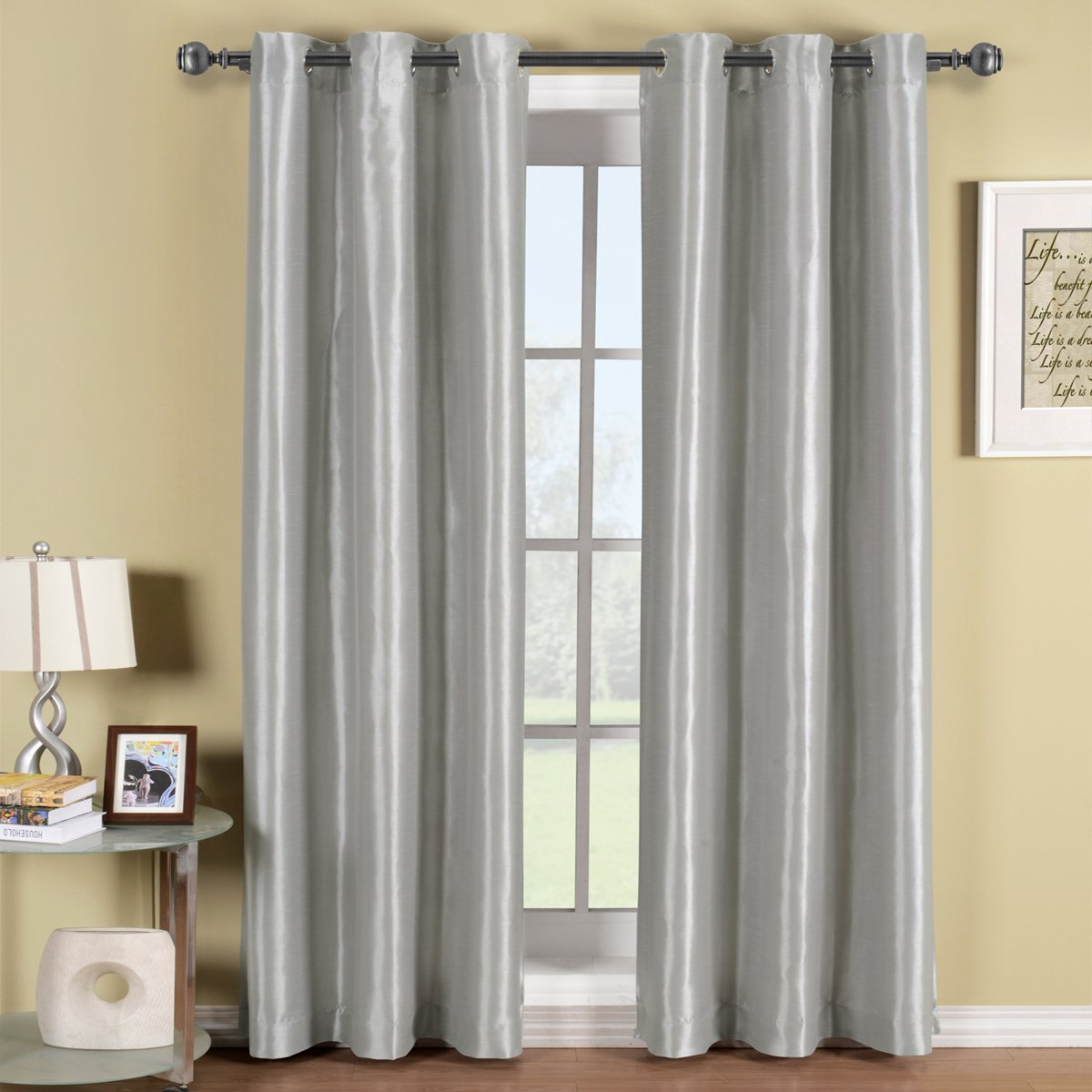 silver curtains amazon.com: soho gray-silver grommet blackout window curtain drape, solid  pattern, 42x84 inches, KPAFJWN