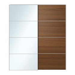sliding closet doors auli / ilseng pair of sliding doors, mirror glass, brown stained ash veneer HCXFJYK
