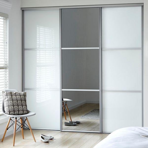 sliding wardrobes classic 2 soft white 1 mirror QIHMRWI