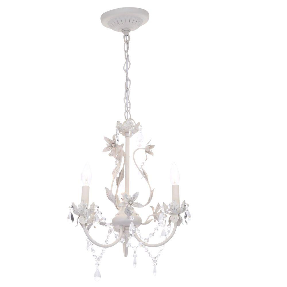 small chandeliers hampton bay kristin 3-light antique white hanging mini chandelier ONNUJWS