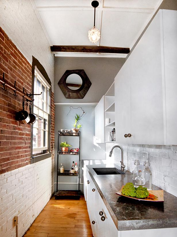 small kitchen ideas rustic modern loft kitchen VWZMCBJ