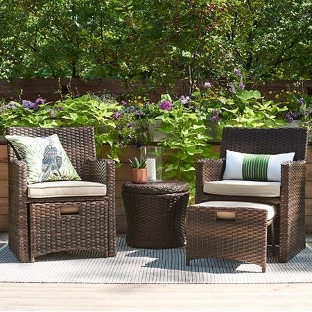 small patio furniture halsted 5-piece wicker small space patio furniture set - threshold™ : target WXHGOYM