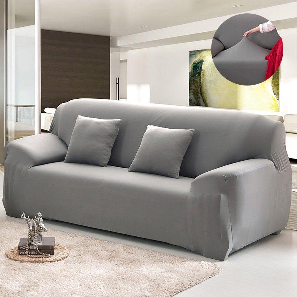 sofa cover amazon.com: bluecookies stretch arm elastic sofa slipcover, grey: home u0026  kitchen GWZQRPX