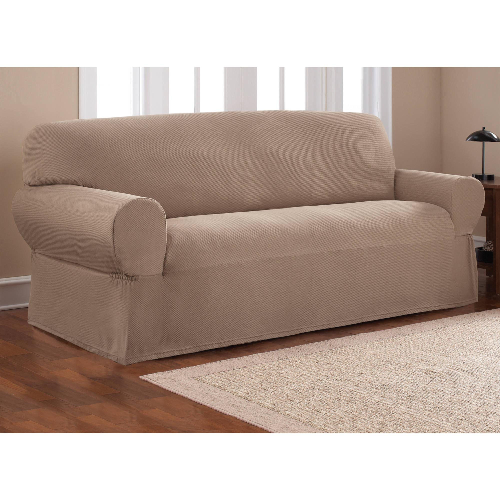 sofa cover mainstays 1-piece stretch fabric sofa slipcover - walmart.com BUQSDKZ
