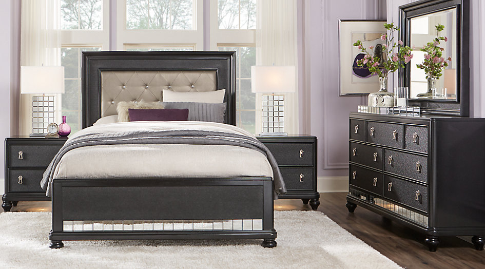 sofia vergara paris black 5 pc queen bedroom - queen bedroom sets black LQHPDHK