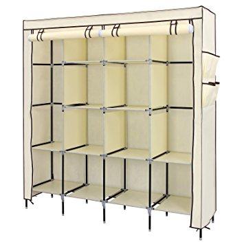 songmics 67 clothes closet portable wardrobe clothes storage rack 12  shelves 4 YDRCLET