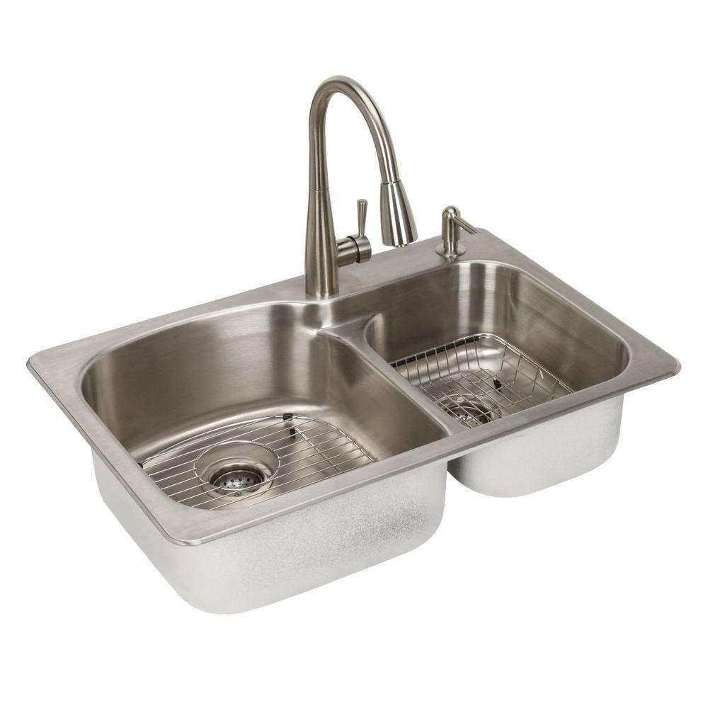 stainless steel kitchen sinks glacier bay all-in-one dual mount stainless steel 33 in. 2-hole double bowl kitchen PTGEXMX