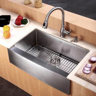 stainless steel kitchen sinks kraus 30 inch farmhouse single bowl stainless steel kitchen sink with  noisedefend ZAMEFIR