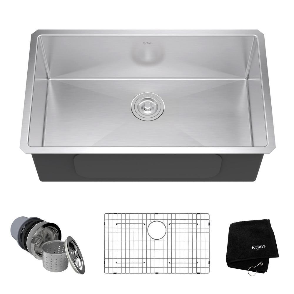 stainless steel kitchen sinks undermount stainless steel 30 in. single bowl kitchen sink kit EJFRLOJ