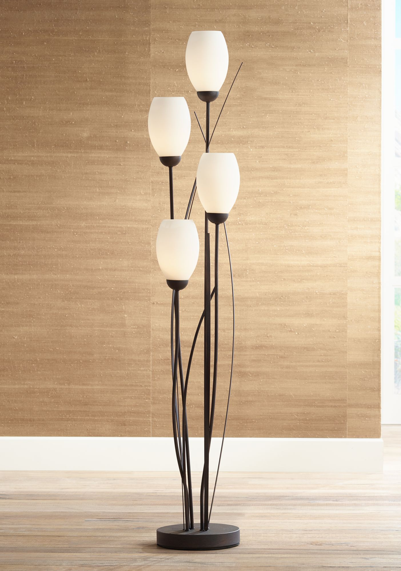 standard lamps black metal and white glass tulip 4 light floor lamp FNYPTIG
