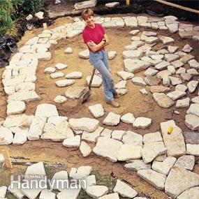 stone patio installing the stone XYZOQJG