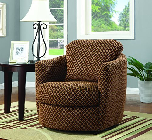 swivel chairs for living room coaster home furnishings 900405 diamond pattern contemporary swivel accent  arm chair, brown NXZJOYQ