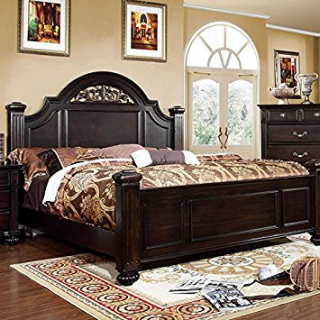 syracuse transitional dark walnut eastern king size bed MBRQWSY