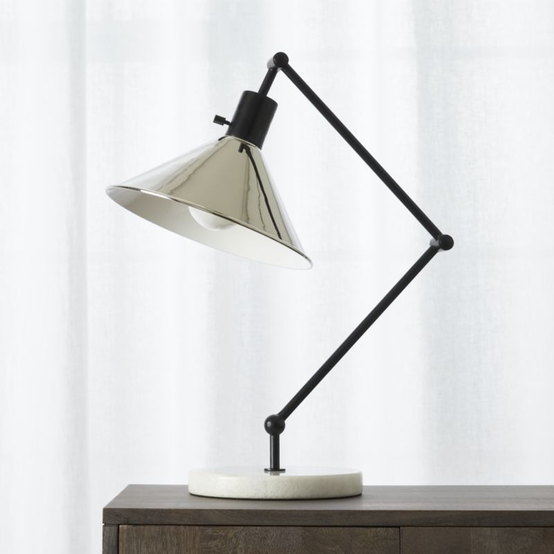 table lamps gris marble base table lamp | cb2 WABLYSF