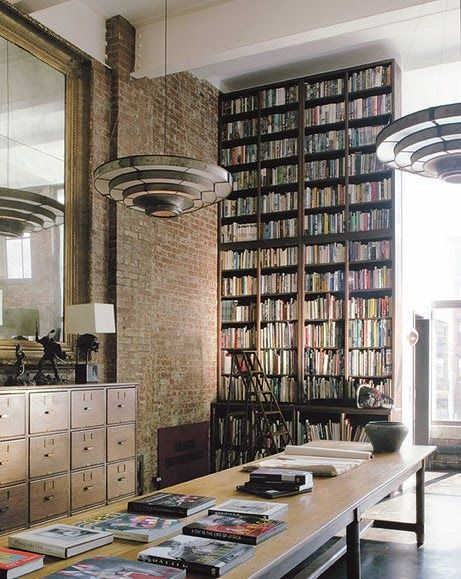 tall bookshelves an inudstrial chic style office with vintage file cabinets and  floor-to-ceiling bookshelves BESCHGA