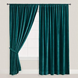 teal thick velvet curtains - absolute blackout 52 WDLLFSR